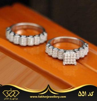 انگشتر پشت حلقه جواهری کد 551