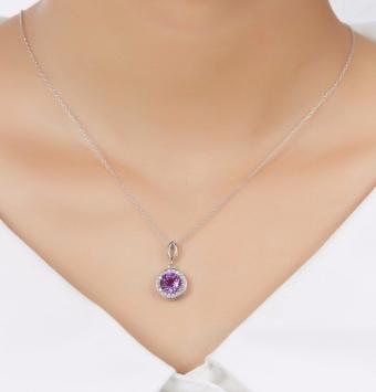 گردنبند نقره زنانه با جواهر بنفش