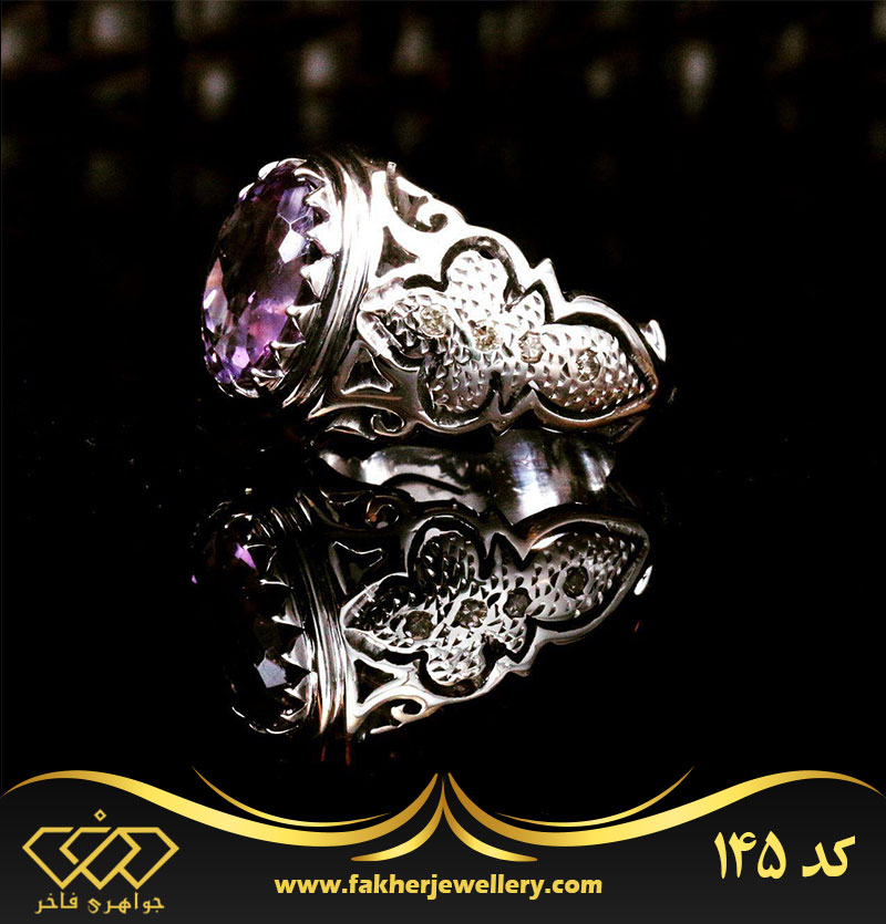 انگشتر مردانه نگین آماتیست اصل کد 145