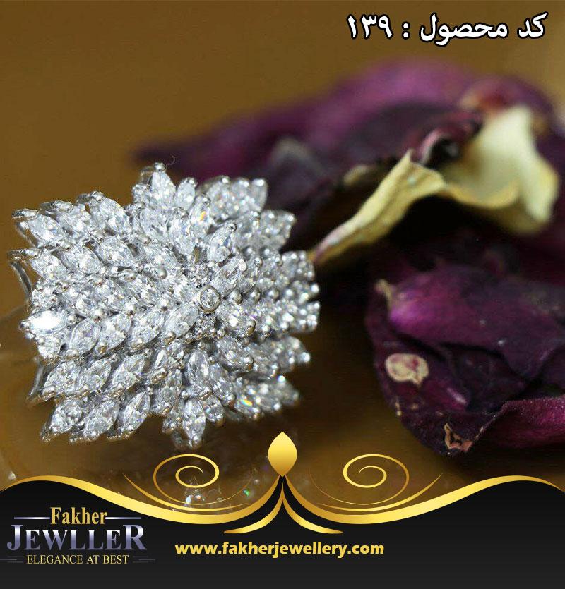 انگشتر جواهری انتیک مارکیز درشت کد 139