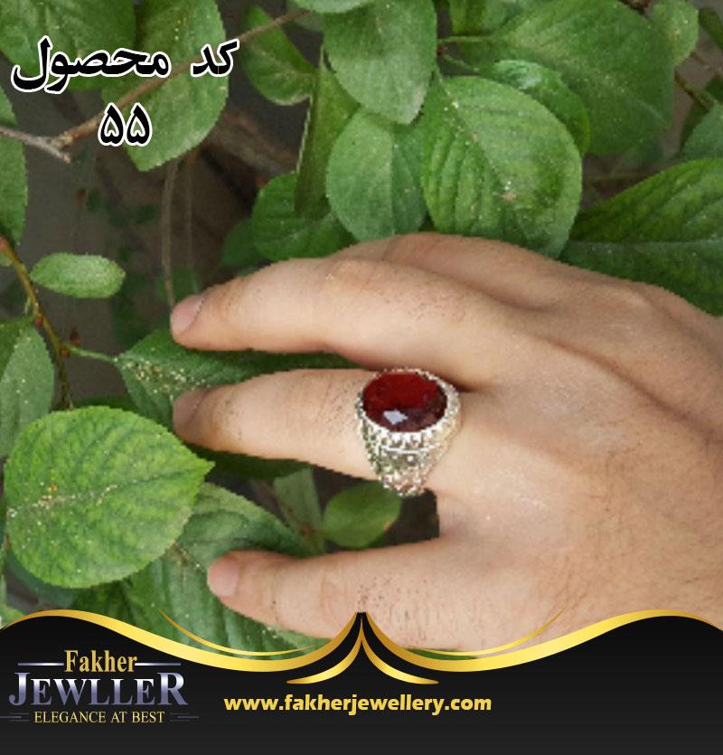 انگشتر مردانه یاقوت طرح مینیاتوری کد 55
