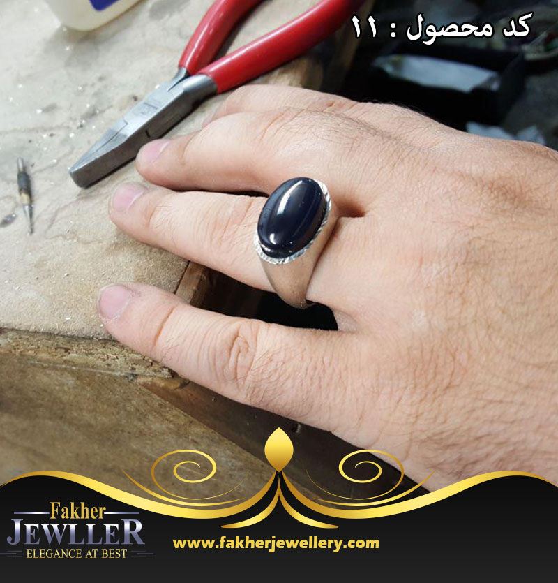 انگشتر عقیق جزع یمنی کد 11