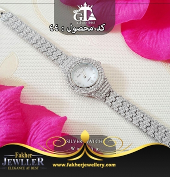 ساعت زنانه نقره جواهری کد44