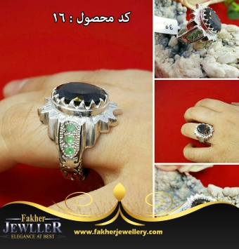 انگشتر اونیکس الماس تراش اصل کد16
