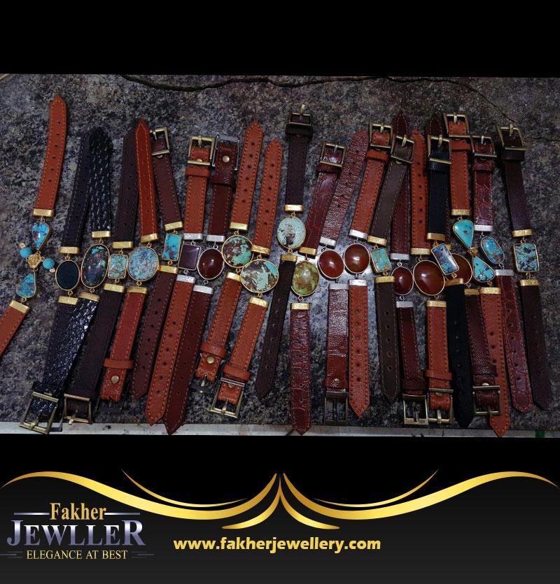 دستبند فیروزه و عقیق سفارشی