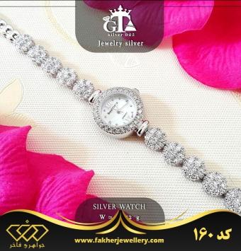 ساعت نقره جواهری با روکش طلا سفید کد 160