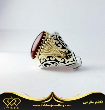 انگشتر عقیق یمنی اصل پایه ۳ تیکه