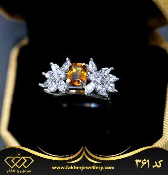 انگشتر جواهری مارکیز نگین اصل سیترین کد 361