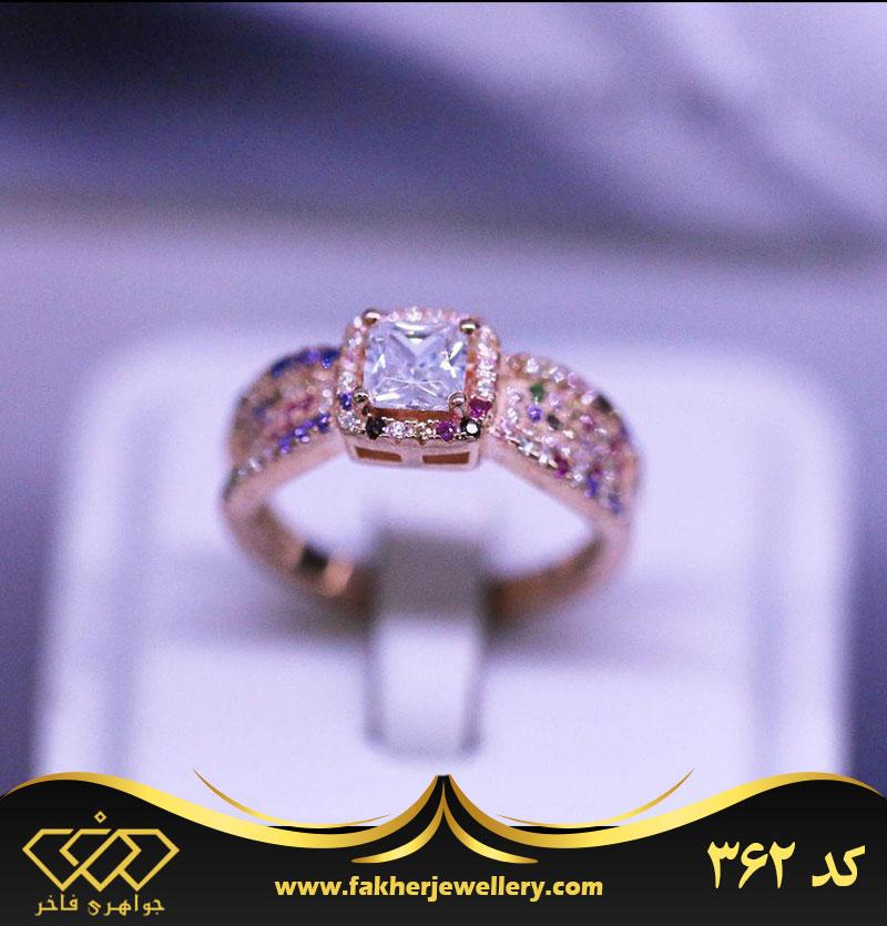 انگشتر جواهری زنانه نگین رنگی انتیک کد 362