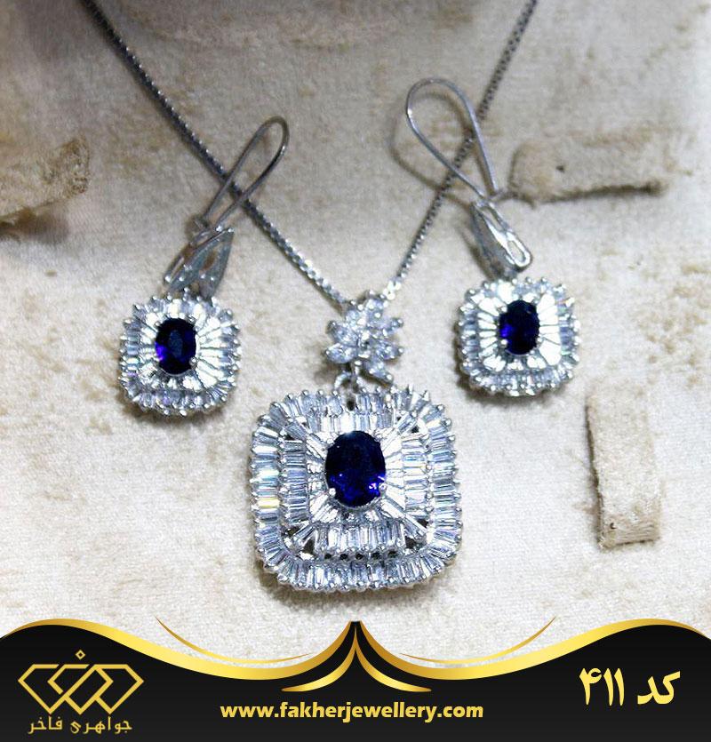 نیم ست جواهری زیبا تک کد 411