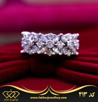 انگشتر جواهری طرح طلا کد 413