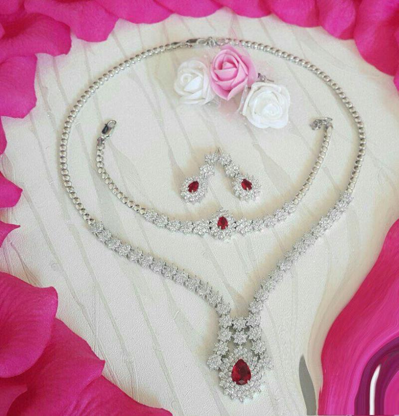 سرویس جواهری فلاور بسیار زیبا یاقوت قرمز