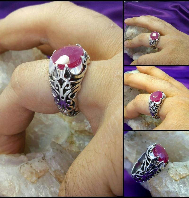 انگشترشبکه یاقوت  اصل معدنی بدون فرایند شده خوش رنگ