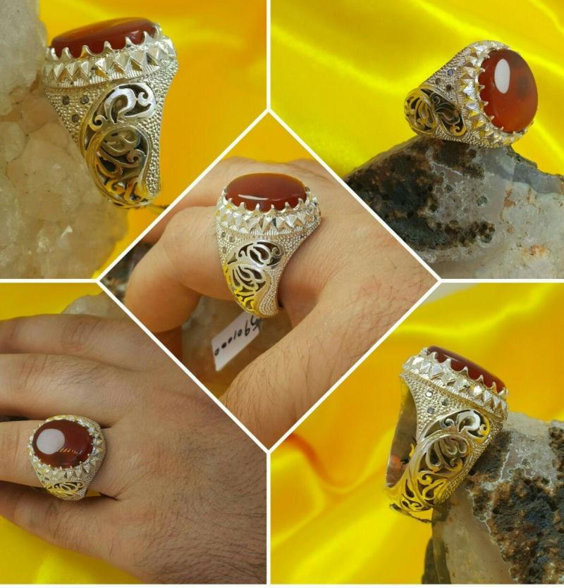 انگشتر عقیق یمانی اصل خوش رنگ