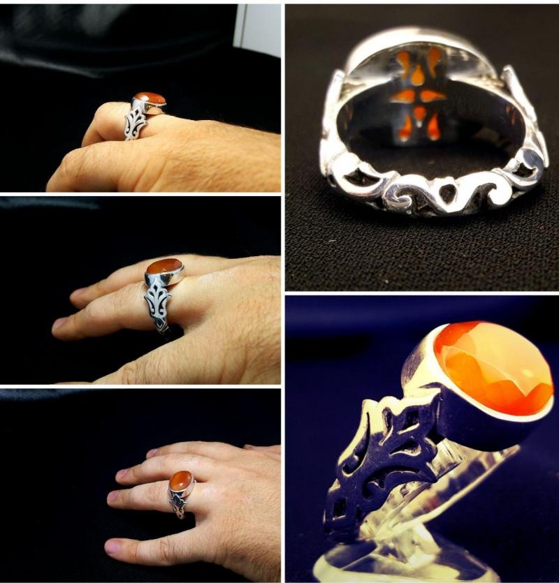 انگشتر عقیق یمنی الماس تراش