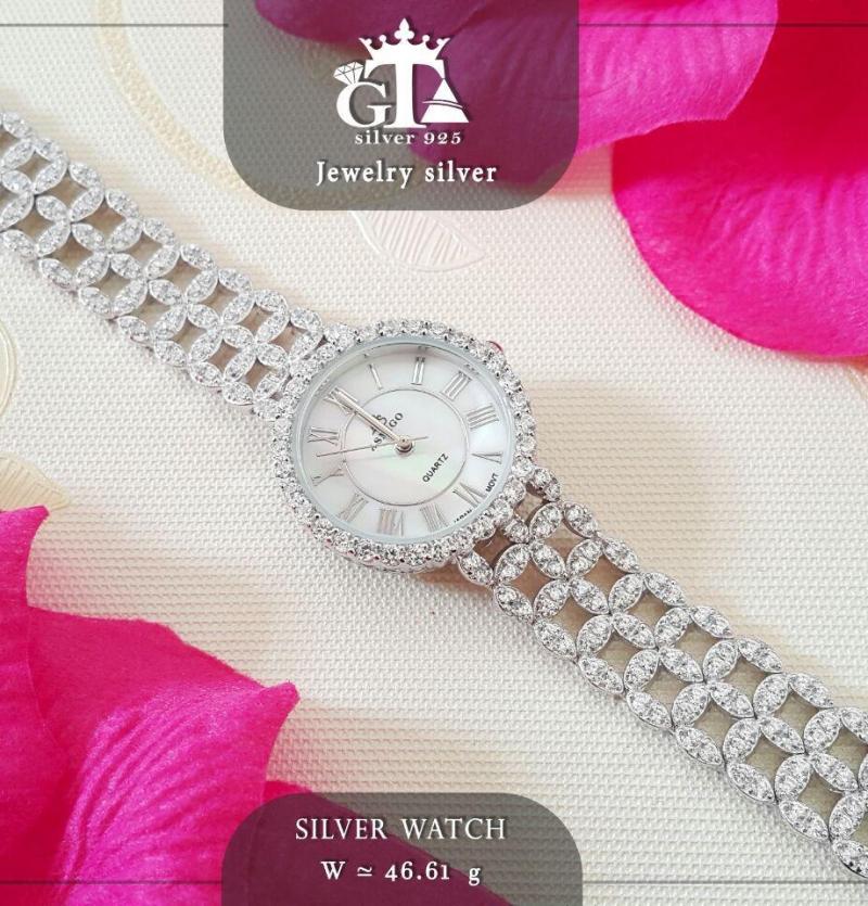 ساعت نقره جواهری