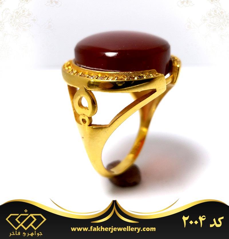 انگشتر عقیق طلا